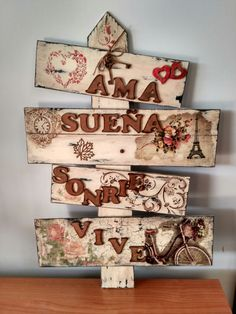 Cuadros vintage exclusivos, hechos a mano. Craft Projects, Projects To Try, Diy Y Manualidades, School Murals, Decoupage Vintage, Country Paintings, Dollar Store Crafts, Painting On Wood, Wood Signs