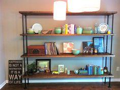 urban vintage soul: wood + pipe shelf