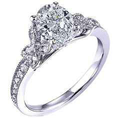 Engagement Ring - Oval Diamond Butterfly Engagement ring Pave band... ($1,280) ❤ liked on Polyvore