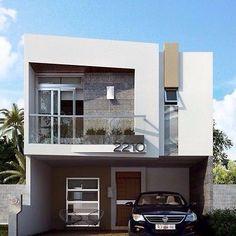 fachadas de casas pequeñas con garaje