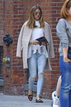 Olivia Palermo in Ripped Jeans Out in New York - April 2017