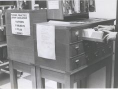 The old library cataloguing system! Old Libraries, Library Catalog, Old Things, Desk, Teaching, Furniture, Home Decor, Table Desk, Education