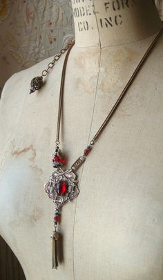 Assemblage Victorian Fob and Tassel Necklace Red by CobwebPalace