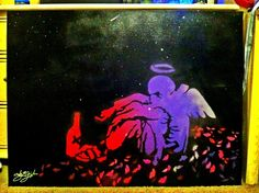 Banksy fallen angel reanimation part ONE painting by Sarah Guajardo