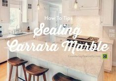 QUESTION: What is the best sealer for Carrara marble kitchen countertops, bathroom vanity and for shower tile? ANSWER: You have a couple issues to consider