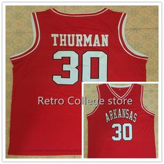 b2111d9bd36  30 Scotty Thurman Arkansas Razorbacks Basketball Jersey White Red  Embroidery Stitched Personalized Custom Jerseys