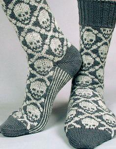 Ravelry: Hot Crossbone Socks pattern by Camille Chang - colourwork sock obsession (sock crafts ravelry) Fair Isle Knitting, Knitting Socks, Hand Knitting, Knitting Patterns, Crochet Patterns, Knitted Socks Free Pattern, Crochet Slippers, Knit Crochet, Ravelry