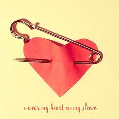 I wear my heart on my sleeve Red Heart Safety by PaperMacheDream, $15.00