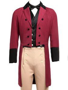 Men's Vintage Costume Victorian Burgundy High Low Coat Retro Overcoat
