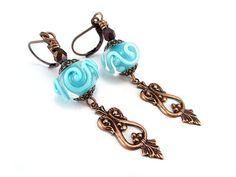 Aqua Swirl Lampwork Glass Earrings - Aqua Blue Earrings - Copper Earrings - Victorian Charm Earrings