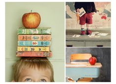 Cute photo ideas for the first day! Now let's see if my kiddos can hold still long enough to balance books like that!