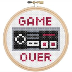 Game Over Nintendo Controller Retro Cross Stitch DIY KIT Beginner USD) by spotyourcolors Cross Stitch Games, Counted Cross Stitch Kits, Cross Stitch Charts, Cross Stitch Designs, Cross Stitch Patterns, Cross Stitch Beginner, Cross Stitching, Cross Stitch Embroidery, Embroidery Patterns
