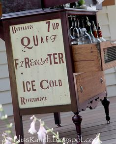 We have an old dresser that I want to turn into a beverage station (cocktails, coffee, mocktails, etc..). This is great inspirations! (Bliss Ranch: Old Dresser Turned Portable Bar)
