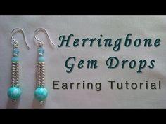 Herringbone Gem Drop Earring Tutorial - YouTube