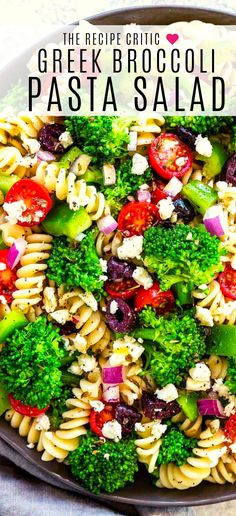 Greek Broccoli Pasta Salad combines tender fusilli pasta with fresh vegetables and a tangy herb dressing. Broccoli florets are briefly cooked, chilled. Broccoli Pasta Salads, Vegetable Pasta, Pasta Salad Ingredients, Pasta Salad Recipes, Vegetarian Pasta Salad, Pastas Recipes, Cooking Recipes, Pasta Fusilli, Tortellini Pasta