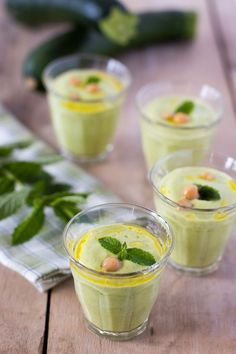 Zucchinis cold soup with cream cheese,fresh mint and chickpeas