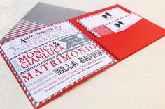 Origami per un matrimonio geek: Monica e Gianluca Red Wedding Invitations, Wedding Stationery, Invites, Pocket Invitation, Invitation Suite, Sister Wedding, Our Wedding, Origami, Gray Weddings