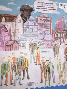 A close up of the Lowry inspired figures and buildings drawn by J5