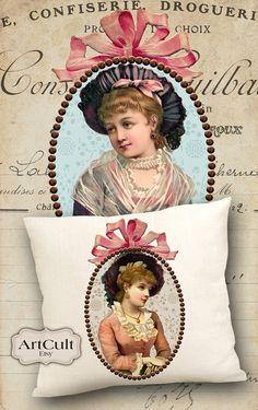 Mesdames romantiques - imprimables téléchargements deux Images numériques pour imprimer sur tissu / papier, fer sur transfert pour fourre-tout coussins Home Decor