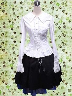 Gothic Black Long Sleeves Cotton Lolita Outfit