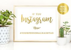 Wedding Hashtag Signs in Gold Foil / Custom Wedding Hashtags / Wedding Hashtags…