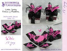 Invitacion de caja explosiva con diseño de mariposa