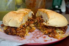 Torta de Pastor. Like a Mexican Philly cheesesteak. From Taco Mix, E116th near Second Ave