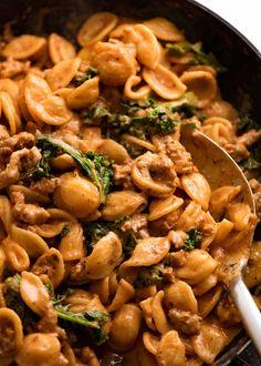 Orecchiette Sausage Pasta in creamy tomato sauce | RecipeTin Eats Parmesan Recipes, Sausage Recipes, Cooking Recipes, Pizza Recipes, Chicken Recipes, Sausage Pasta Sauce, Pork Pasta, Creamy Tomato Pasta, Creamy Sausage Pasta