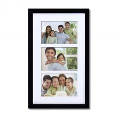 Adeco Decorative Black Wood Wall Hanging Picture Photo Frame with Mat, 3 Openings, 4x6""