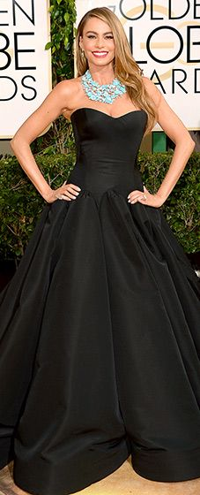 Sofia Vergara: 2014 Golden Globes The Modern Family stunner looked gorgeous in a strapless Zac Posen gown with a sweetheart bodice and full skirt.
