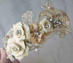 Champagne Lace Headband with Vintage Rhinestones and Pearls, Bridal Headband…