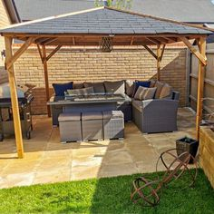 House your outdoor garden furniture with a high quality timber garden structure. Gazebos are the perfect way to enjoy your garden no matter what the weather. Garden Buildings, Garden Structures, Outdoor Garden Furniture, Outdoor Decor, Wooden Gazebo, Shelter, Pergola, Cabin, House