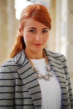 Grey striped blazer with statement necklace