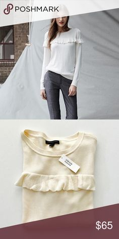 FINAL PRICE | Banana Republic Ruffle Top Sweater Banana Republic Ruffle Shoulder Sweater in Cream  Round neckline Long sleeves Ruffle detail at front Ruffle detail at back Ribbed neckline Rubbed waistband + cuffs  50% acrylic, 50% viscose Machine wash cold Banana Republic Sweaters Crew & Scoop Necks
