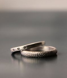 alternative wedding band set - 14K recycled gold eco-friendly diamond engagement ring - her hers - his his - his hers