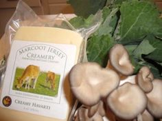 The best ingredients are always local: Marcoot Jersey Creamery cheese, my friend Leo's mushrooms and Kale from Biver Farms.