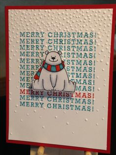 Christmas Card - Stamps: My Favorie Things Polar Bear Pals, Stampin' Up Greetings from Santa - Stampin' Up Softly Falling Embossing Folder - Inks: Stampin' Up Poppy Parade, Hero Arts Aqua, Memento Tuxedo Black - Copics: R05, R08, C4, C2, C0, BG53, BG57 - Spectrum Noir Sparkle Clear Overlay - Art Impressions Mini Action Wobble - Cardstock: Stampin' Up Real Red, Neenah Classic Crest Cover Solar White 80lb - Inspiration: http://www.janeyscards.com/2016/12/christmas-cards-galore.html
