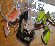 "6 Colorful ""Strappy Sandals"" Wine Charms for all of us who love our shoes..Cool gift for BFF or stocking stuffer"