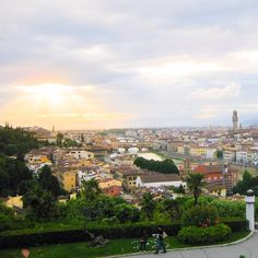 The sun peaking through the clouds over Florence, Italy!