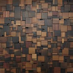 :::  Stacked Square Wood Wall Design #woodwall #walldesign
