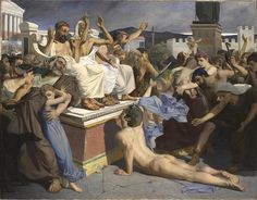 Painting of Pheidippides as he gave word of the Greek victory over Persia at the Battle of Marathon to the people of Athens.Luc-Olivier Merson, 1869