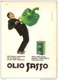 "Vintage Italian Posters ~ #illustrator #Italian #vintage #posters ~ Pubblicità ""Olio Sasso"" Design Testa-1960´-Page Magazine Advert-"