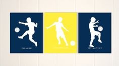 Soccer boy wall art, soccer, boys art, goalkeeper, pre teen boy wall art, kids room art, inspirational art for boys, Set of 3 by PicabooArtStudio