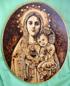 Immaculate Heart by Theophilia on deviantART ~ pyrography {woodburning} ~ Blessed Mother Mary & Baby Jesus