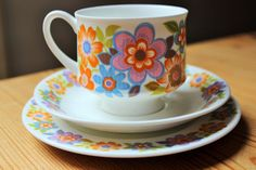 Incredibly Pretty Mayfair Bone china trio in similar colours to Hostess Tableware Dolly Days  in excellent vintage condition - no chips cracks or