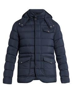 Cold city days call for high-performing outerwear, and Herno's navy quilted-shell jacket perfectly fits the bill. It's filled with pure goose down and feathers to keep heat close to the body, and detailed with an attached drawstring hood, high neck, and a host of secure pockets – inside as well as out.