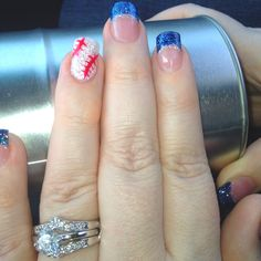 Baseball nails ~ perfect for Yankees!  Change nail tips to red for Cardinals?