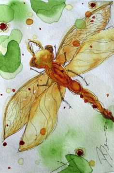 dragonfly watercolor painting via Etsy