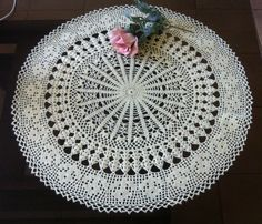 D-25. Large doily / 62 cm / light ecru doily / by onestroke08