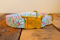 "This site has super cute collars and leashes for your pup! Etsy - boneafide collars is the shop name. :)  Dog Collar-Small, Medium, Large-Gold Metal Buckle, 1 inch- ""Alexandra"" Flower Fabric on Etsy, $19.99"